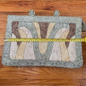 Vintage Leather Snakeskin Pattern Clutch